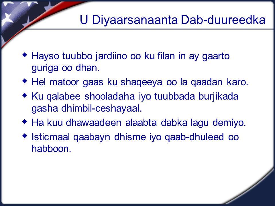 U Diyaarsanaanta Dab-duureedka  Hayso tuubbo jardiino oo ku filan in ay gaarto guriga oo dhan.