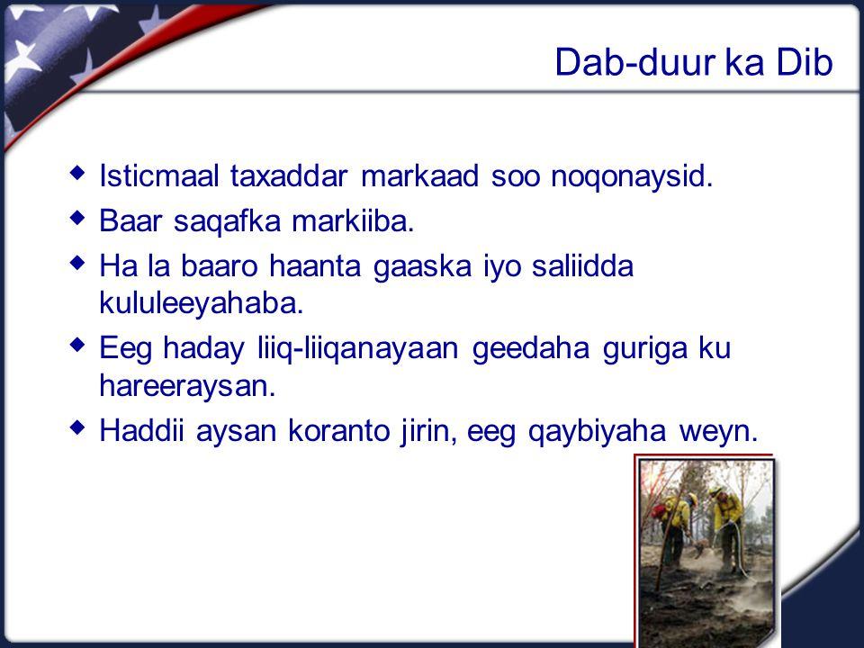 Dab-duur ka Dib  Isticmaal taxaddar markaad soo noqonaysid.