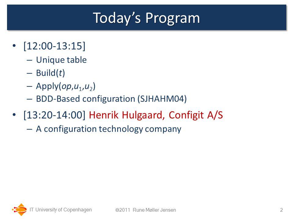 IT University of Copenhagen Today's Program [12:00-13:15] – Unique table – Build(t) – Apply(op,u 1,u 2 ) – BDD-Based configuration (SJHAHM04) [13:20-1