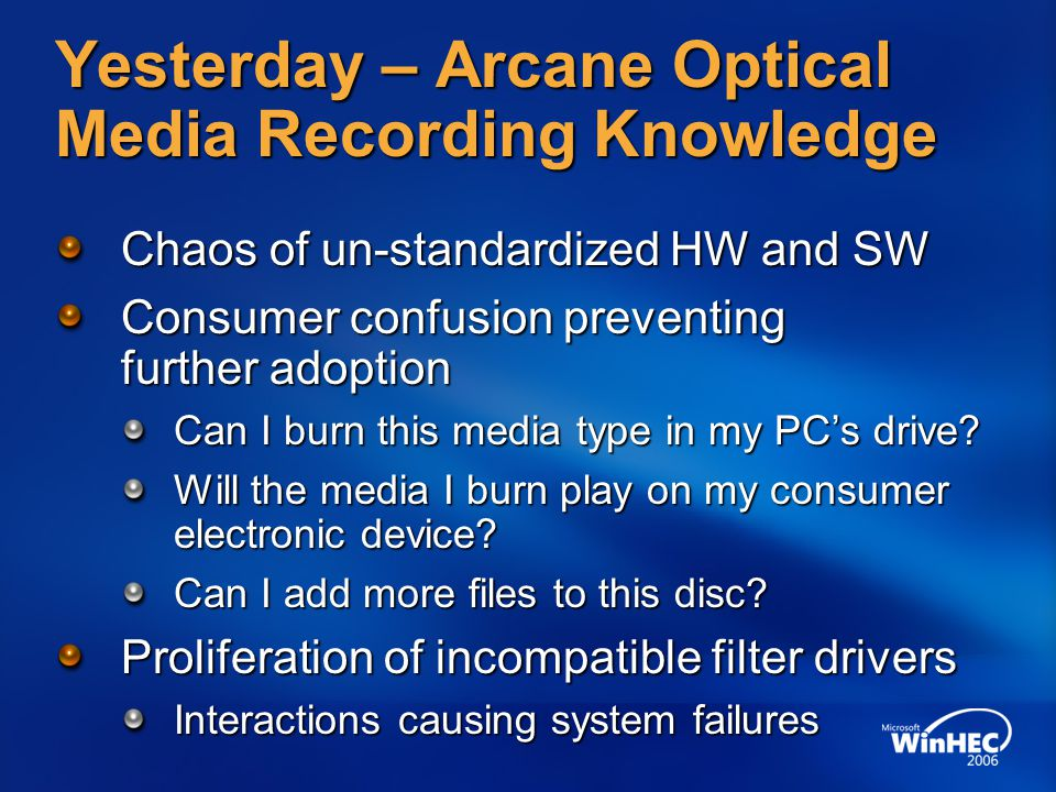 Yesterday – Arcane Optical Media Recording Knowledge Chaos of un-standardized HW and SW Consumer confusion preventing further adoption Can I burn this