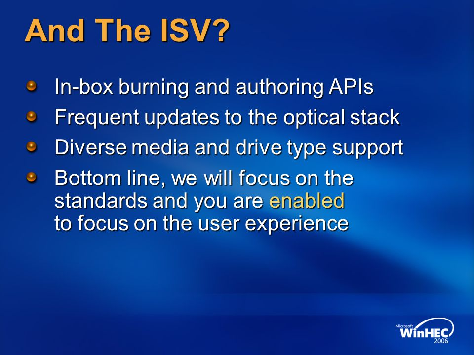 And The ISV.