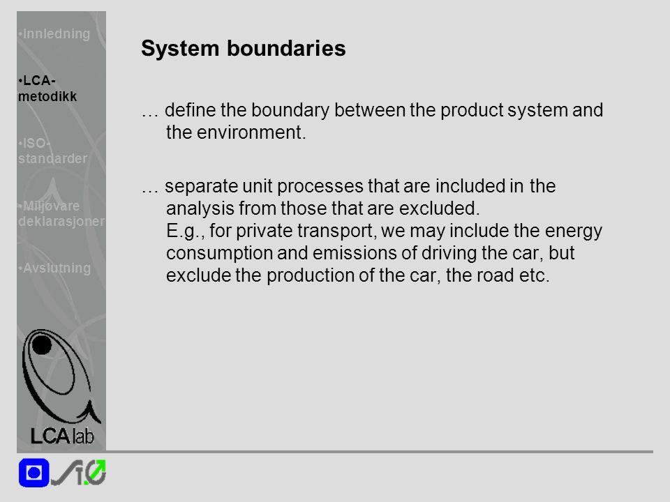 Innledning LCA- metodikk ISO- standarder Miljøvare deklarasjoner Avslutning System boundaries … define the boundary between the product system and the