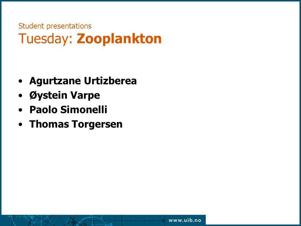 Student presentations Tuesday: Zooplankton Agurtzane Urtizberea Øystein Varpe Paolo Simonelli Thomas Torgersen