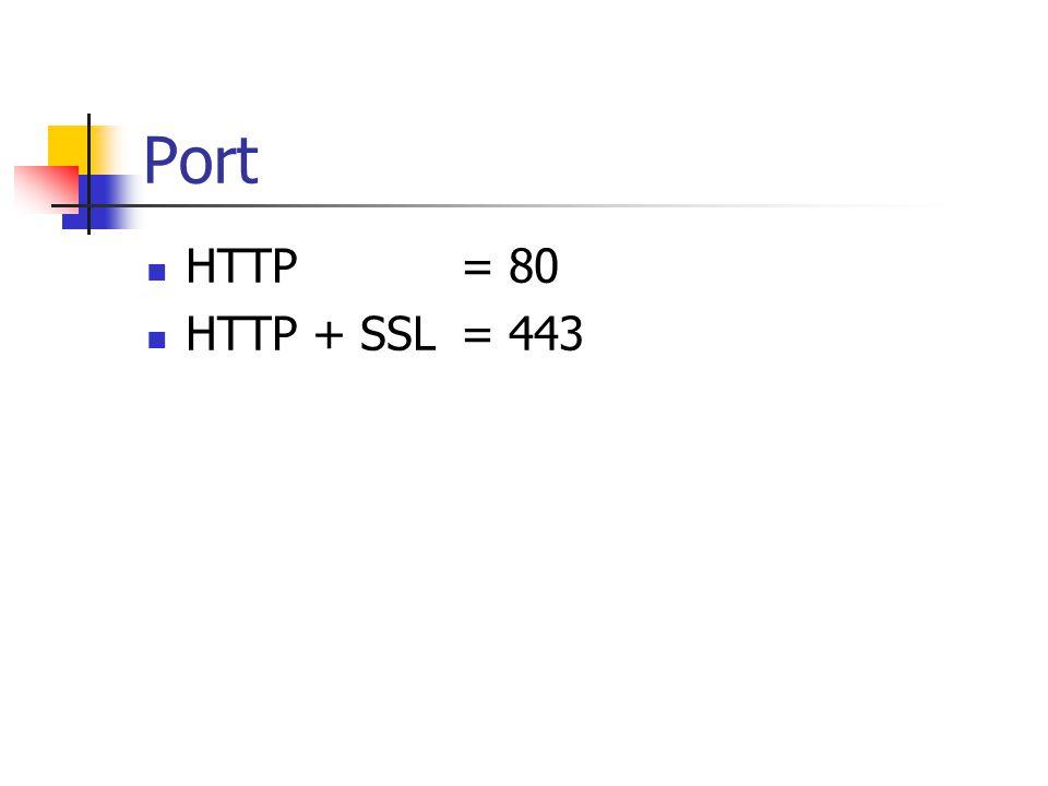 Port HTTP= 80 HTTP + SSL= 443