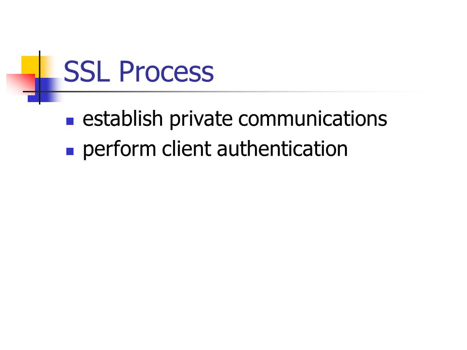 SSL Process establish private communications perform client authentication
