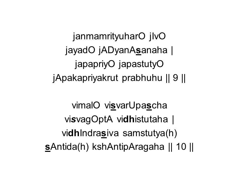 srEya(h)prada(h) srutimaya(h) srEyasAmpatireesvaraha | achyutOnanda rUpascha prANada(h) pruthivI pati(hi) || 11 || avyaktO vyaktarUpascha sarvasAkshI tamOharaha | ajnAna nAsakO jnAnI pUrNachandra samaprabhaha || 12 ||