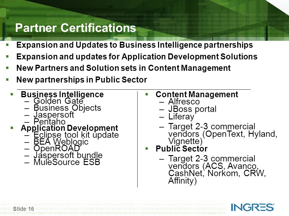 Slide 16 Partner Certifications  Expansion and Updates to Business Intelligence partnerships  Expansion and updates for Application Development Solutions  New Partners and Solution sets in Content Management  New partnerships in Public Sector  Business Intelligence –Golden Gate –Business Objects –Jaspersoft –Pentaho  Application Development –Eclipse tool kit update –BEA Weblogic –OpenROAD –Jaspersoft bundle –MuleSource ESB  Content Management –Alfresco –JBoss portal –Liferay –Target 2-3 commercial vendors (OpenText, Hyland, Vignette)  Public Sector –Target 2-3 commercial vendors (ACS, Avanco, CashNet, Norkom, CRW, Affinity)