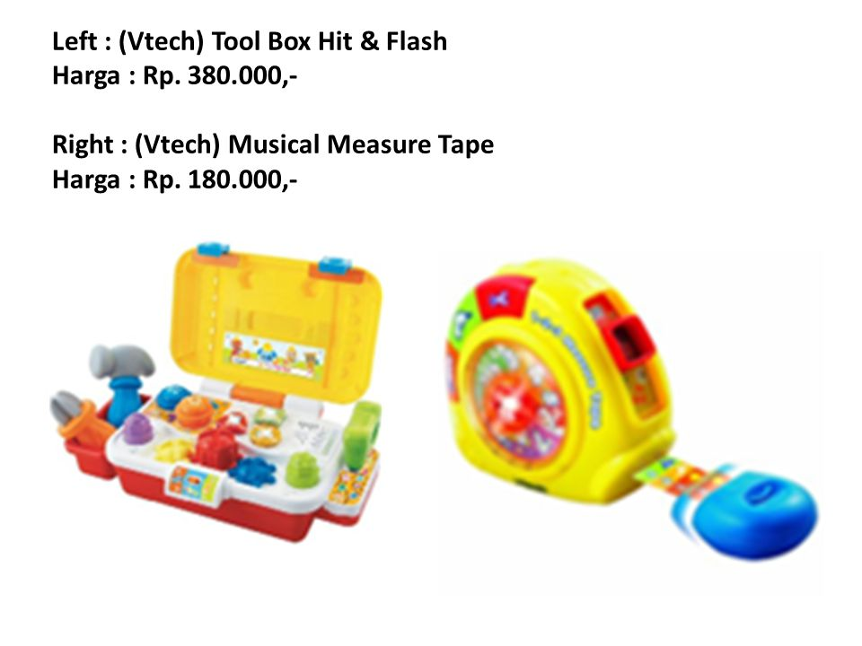 Left : (Vtech) Fish Rattle Harga : Rp.195.000,- Right : (Vtech) Find My Friend Turtle Harga : Rp.