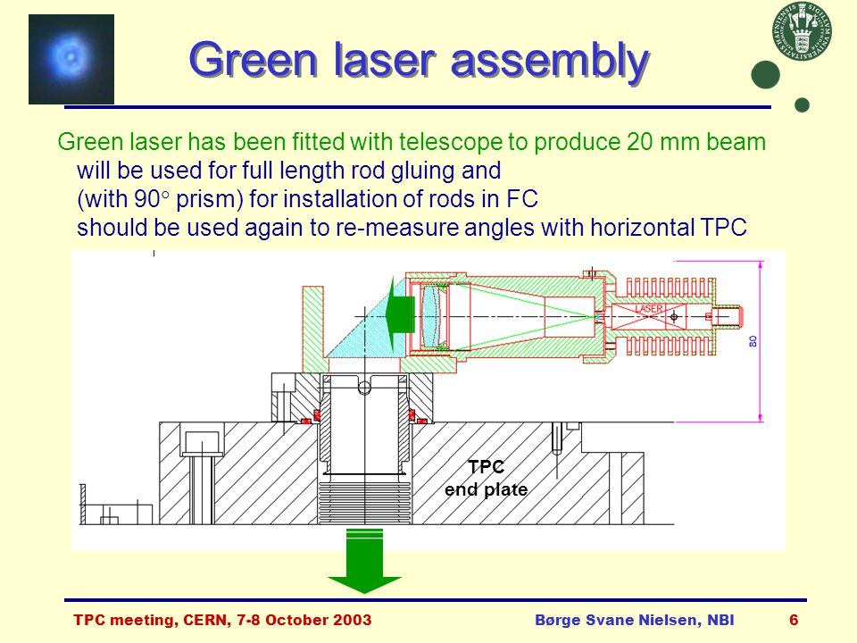 TPC meeting, CERN, 7-8 October 2003Børge Svane Nielsen, NBI7 Other on-going activities  Quartz components for end-plates and laser hut ordered: Delivery has started of 22 prisms of 2 types, 28 beam splitters of 4 different specs, 10 mirrors of 2 types, 45 windows of 2 types.