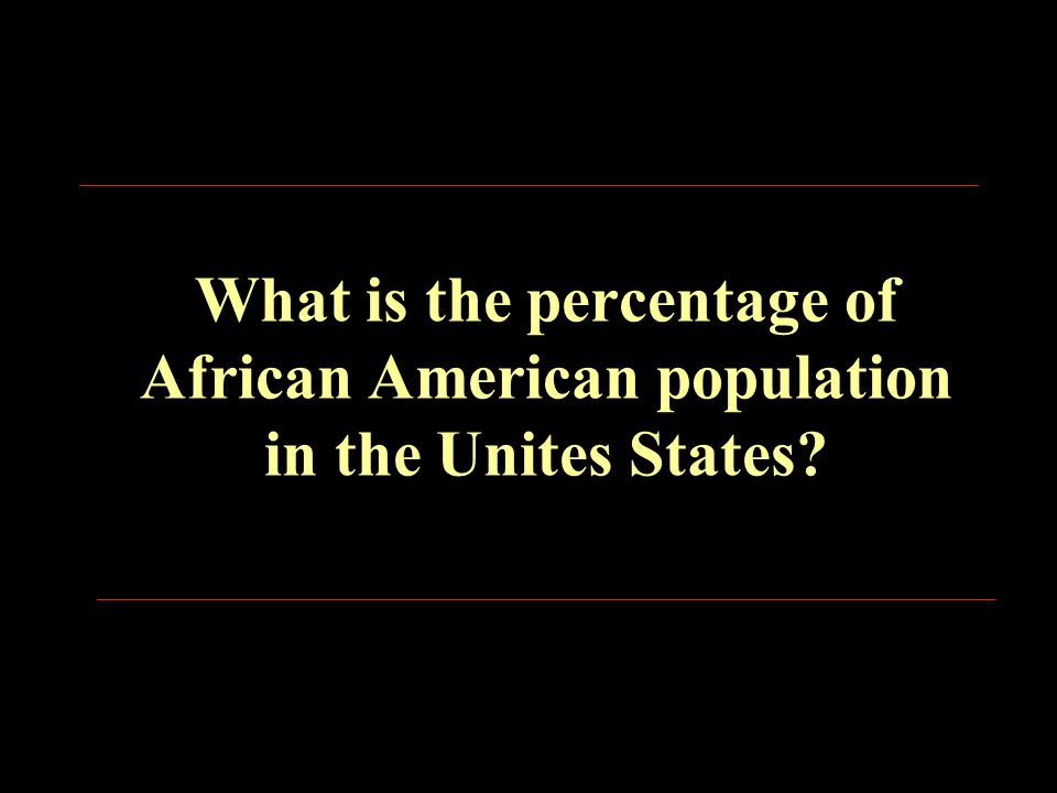 What is the percentage of African American population in the Unites States?