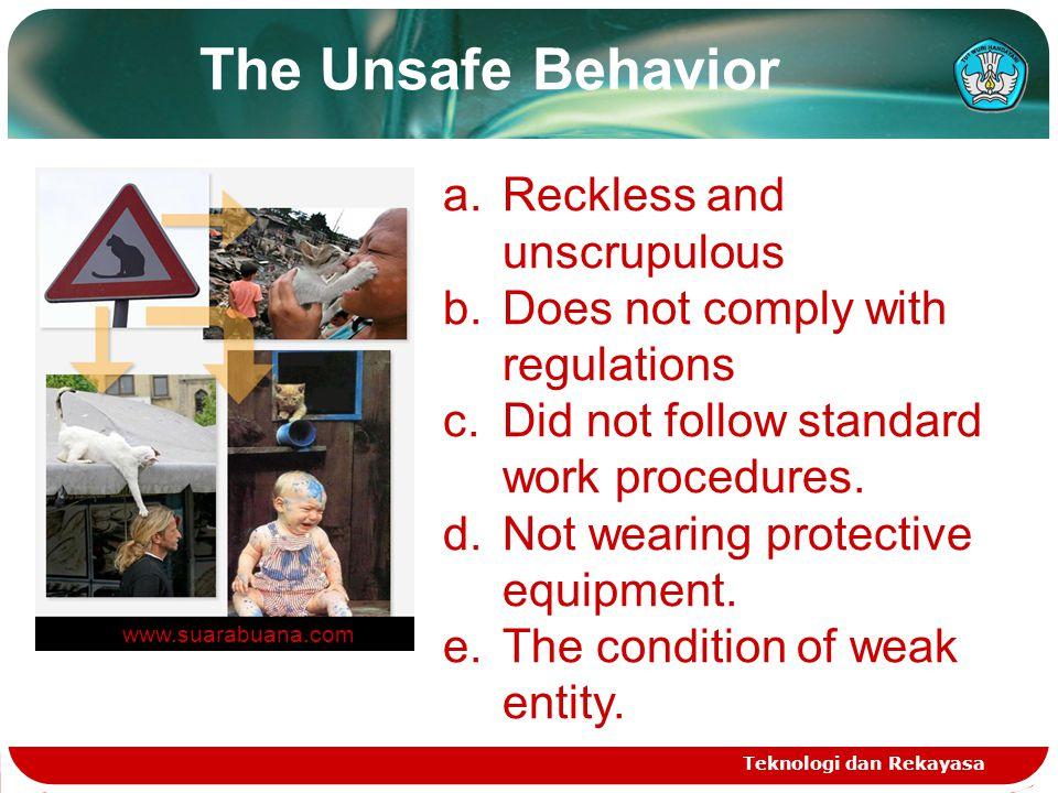 Teknologi dan Rekayasa a.Reckless and unscrupulous b.Does not comply with regulations c.Did not follow standard work procedures.