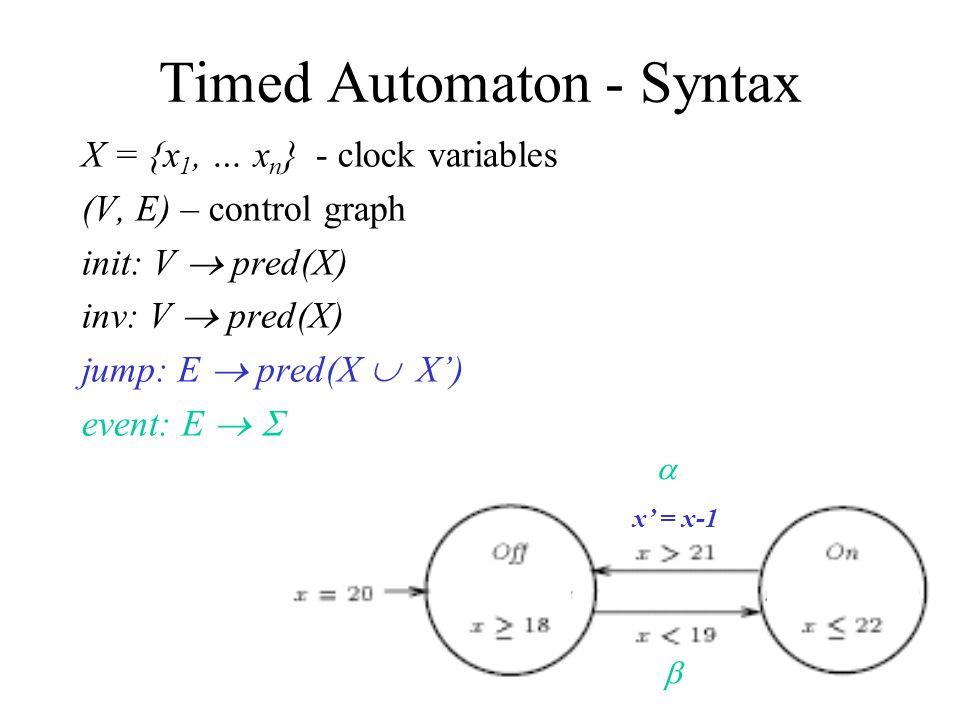 X = {x 1, … x n } - clock variables (V, E) – control graph init: V  pred(X) inv: V  pred(X) jump: E  pred(X  X') event: E   Timed Automaton - Syntax x' = x-1  