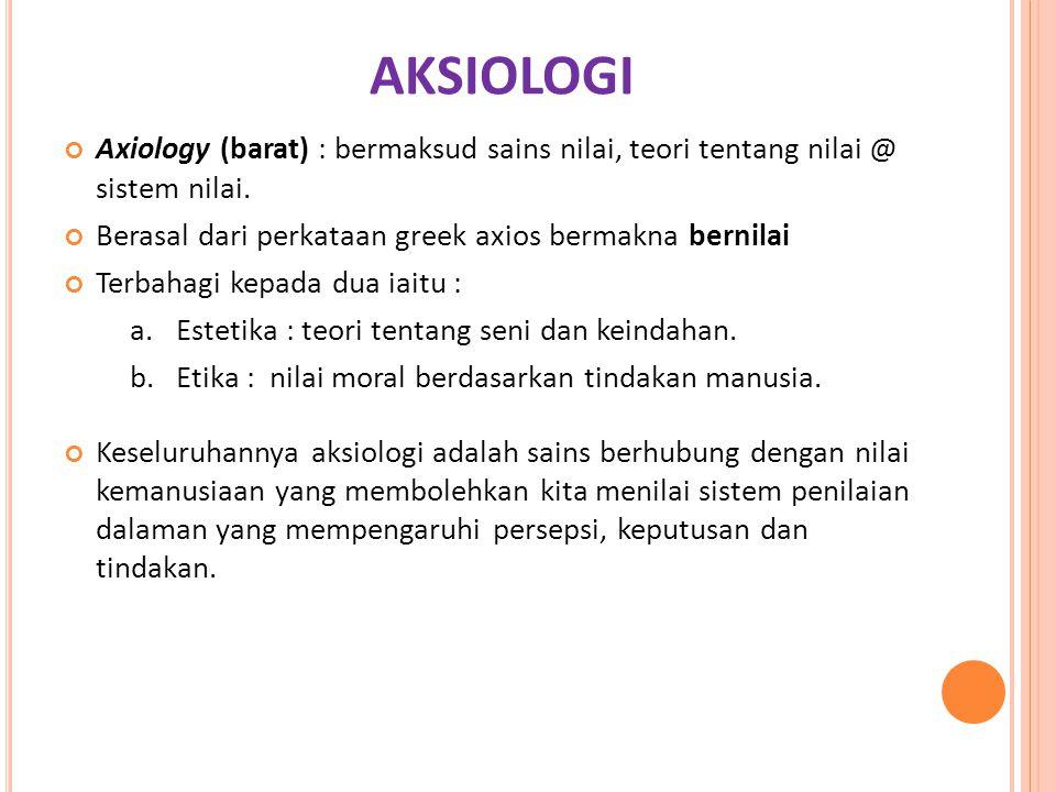 AKSIOLOGI Axiology (barat) : bermaksud sains nilai, teori tentang nilai @ sistem nilai. Berasal dari perkataan greek axios bermakna bernilai Terbahagi