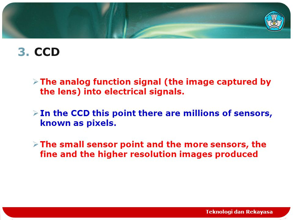 3.CCD  The analog function signal (the image captured by the lens) into electrical signals.  In the CCD this point there are millions of sensors, kn