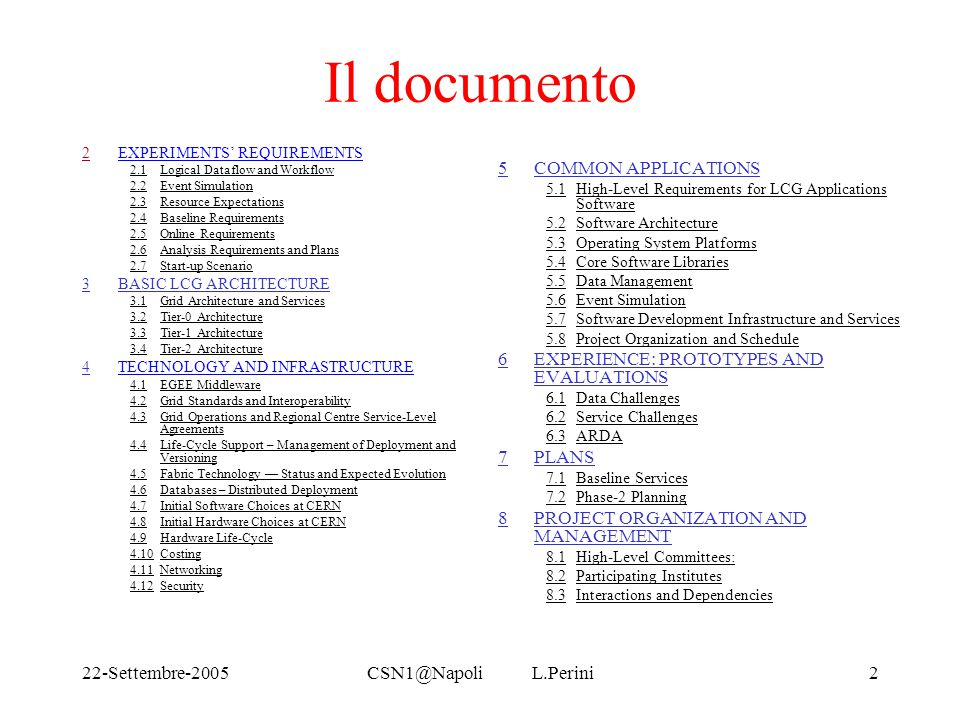 22-Settembre-2005CSN1@Napoli L.Perini2 Il documento 22EXPERIMENTS' REQUIREMENTS 2.1Logical Dataflow and Workflow 2.2Event Simulation 2.3Resource Expec