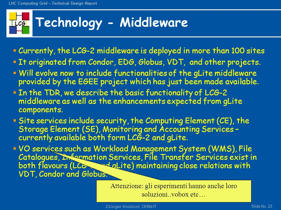 LCG Slide No. 23 LHC Computing Grid – Technical Design Report 23Jürgen Knobloch, CERN-IT Technology - Middleware  Currently, the LCG-2 middleware is
