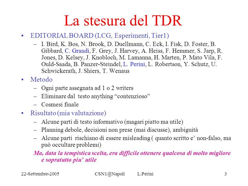 22-Settembre-2005CSN1@Napoli L.Perini3 La stesura del TDR EDITORIAL BOARD (LCG, Esperimenti, Tier1) –I.
