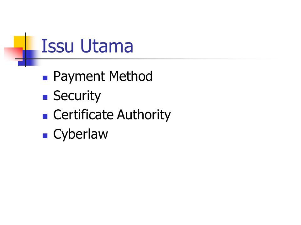 Transaction Security SSL (Secure Socket Layer) SET (Secure Electronics Transaction)