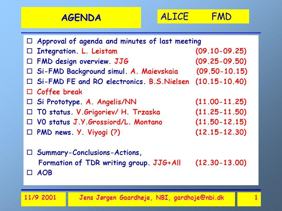 ALICE FMD 11/9 2001Jens Jørgen Gaardhøje, NBI, gardhoje@nbi.dk1 AGENDA oApproval of agenda and minutes of last meeting oIntegration.