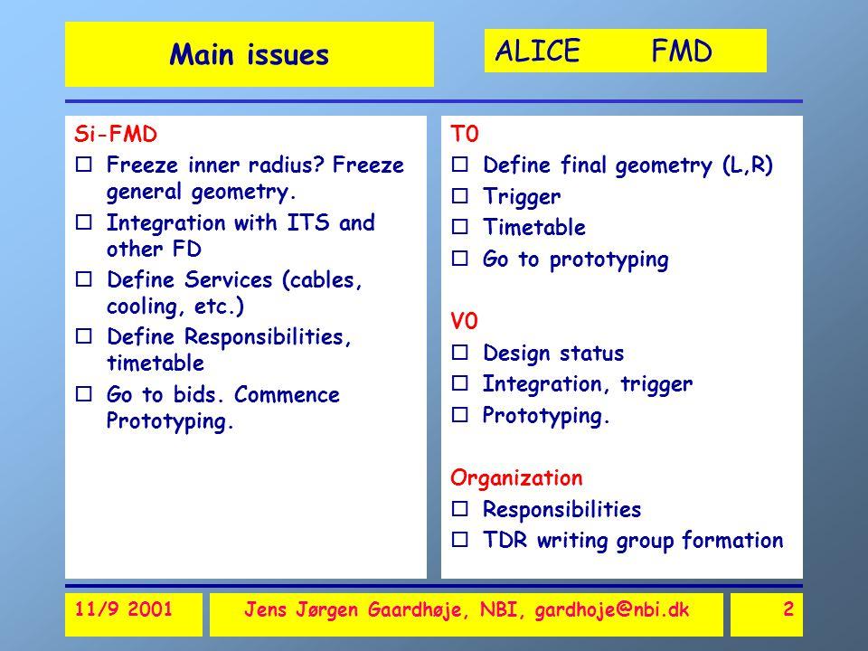 ALICE FMD 11/9 2001Jens Jørgen Gaardhøje, NBI, gardhoje@nbi.dk2 Main issues Si-FMD oFreeze inner radius.
