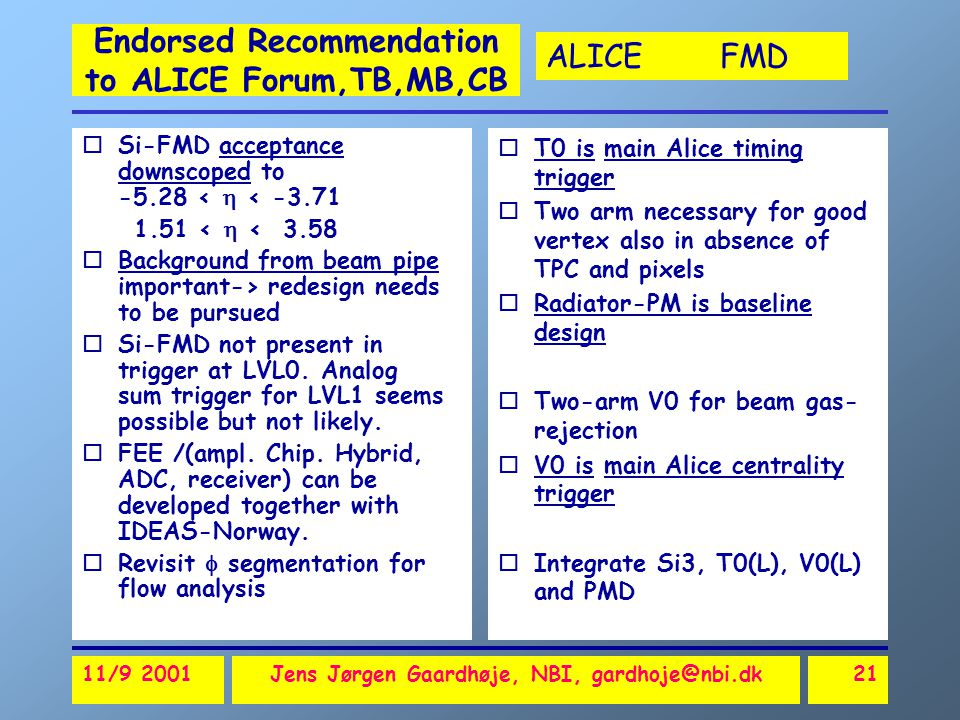 ALICE FMD 11/9 2001Jens Jørgen Gaardhøje, NBI, gardhoje@nbi.dk21 Endorsed Recommendation to ALICE Forum,TB,MB,CB oSi-FMD acceptance downscoped to -5.28 <  < -3.71 1.51 <  < 3.58 oBackground from beam pipe important-> redesign needs to be pursued oSi-FMD not present in trigger at LVL0.
