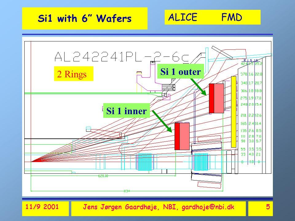 ALICE FMD 11/9 2001Jens Jørgen Gaardhøje, NBI, gardhoje@nbi.dk6 Si1 with 6 Wafers R=5.3cm R=17.1cm R=28.8cm R=39.9cm R=35.1cm R=22.1cm 24 16 8 2 Rings Inner Ring Outer Ring