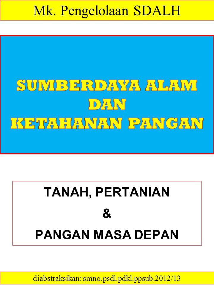TANAH, PERTANIAN & PANGAN MASA DEPAN diabstraksikan: smno.psdl.pdkl.ppsub.2012/13 Mk. Pengelolaan SDALH
