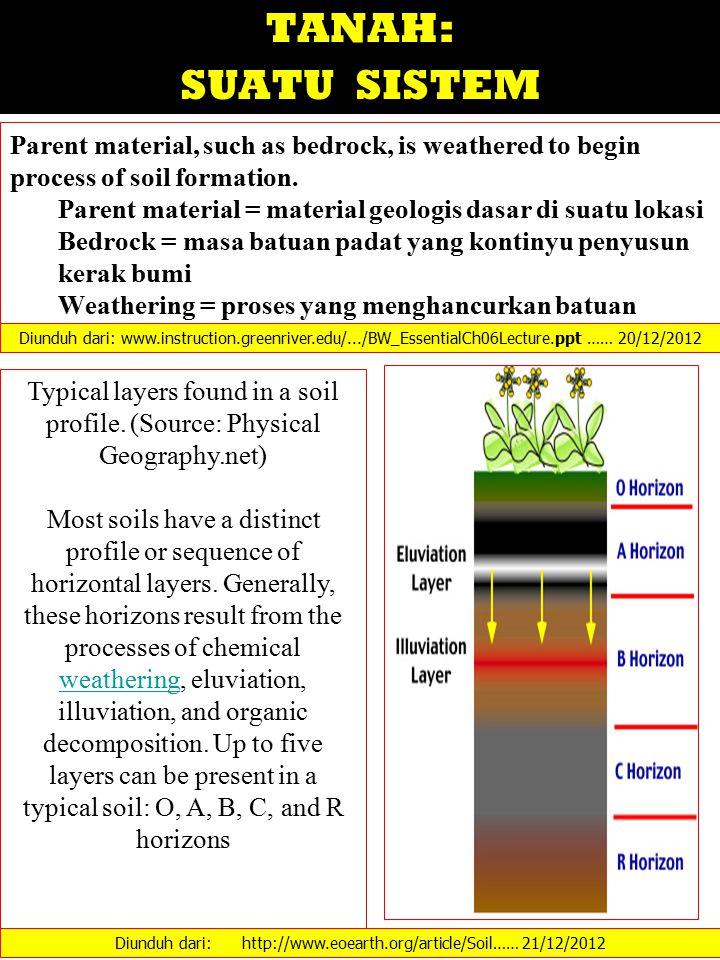 TANAH: SUATU SISTEM Parent material, such as bedrock, is weathered to begin process of soil formation. Parent material = material geologis dasar di su