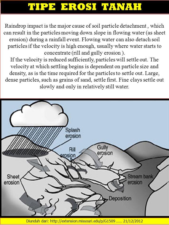 TIPE EROSI TANAH Diunduh dari: http://extension.missouri.edu/p/G1509 …… 21/12/2012 Raindrop impact is the major cause of soil particle detachment, whi
