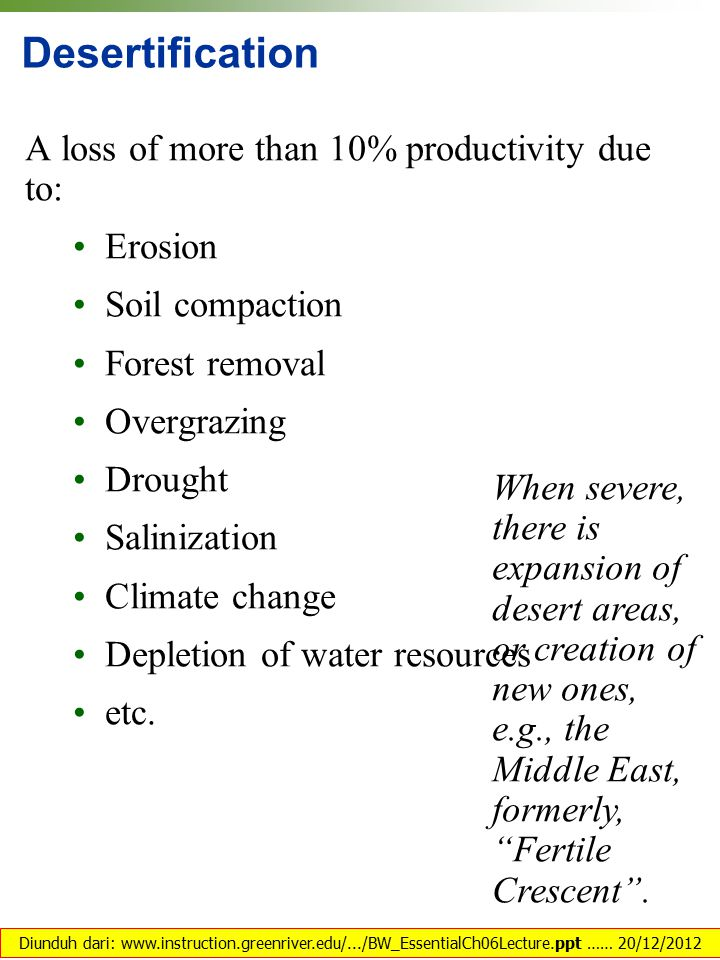 Desertification A loss of more than 10% productivity due to: Erosion Soil compaction Forest removal Overgrazing Drought Salinization Climate change Depletion of water resources etc.