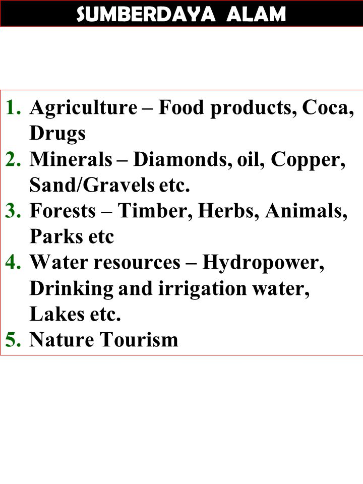 SUMBERDAYA ALAM 1.Agriculture – Food products, Coca, Drugs 2.Minerals – Diamonds, oil, Copper, Sand/Gravels etc. 3.Forests – Timber, Herbs, Animals, P