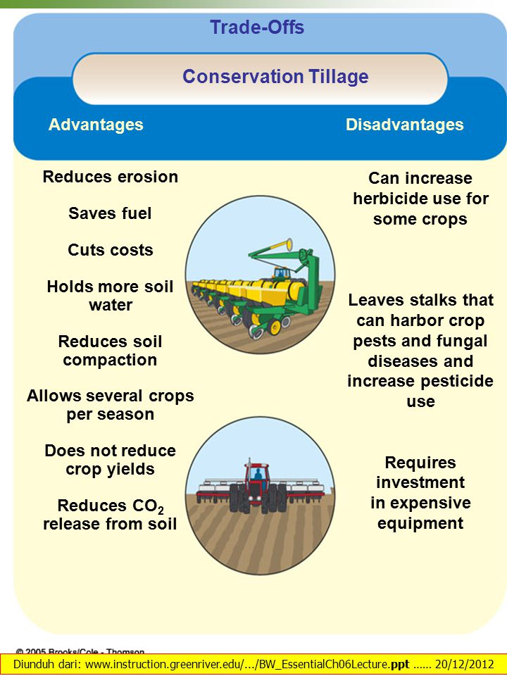 Reduces erosion Saves fuel Cuts costs Holds more soil water Reduces soil compaction Allows several crops per season Does not reduce crop yields Reduces CO 2 release from soil Can increase herbicide use for some crops Leaves stalks that can harbor crop pests and fungal diseases and increase pesticide use Requires investment in expensive equipment Disadvantages Advantages Trade-Offs Conservation Tillage Diunduh dari: www.instruction.greenriver.edu/.../BW_EssentialCh06Lecture.ppt …… 20/12/2012