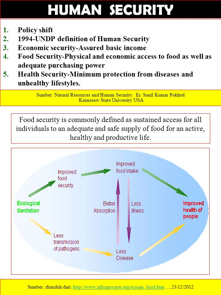 1.Policy shift 2.1994-UNDP definition of Human Security 3.Economic security-Assured basic income 4.Food Security-Physical and economic access to food as well as adequate purchasing power 5.Health Security-Minimum protection from diseases and unhealthy lifestyles.