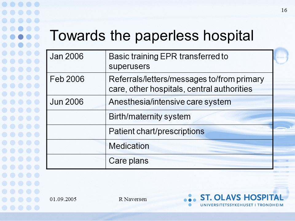 01.09.2005R Naversen 16 Towards the paperless hospital Jan 2006Basic training EPR transferred to superusers Feb 2006Referrals/letters/messages to/from primary care, other hospitals, central authorities Jun 2006Anesthesia/intensive care system Birth/maternity system Patient chart/prescriptions Medication Care plans