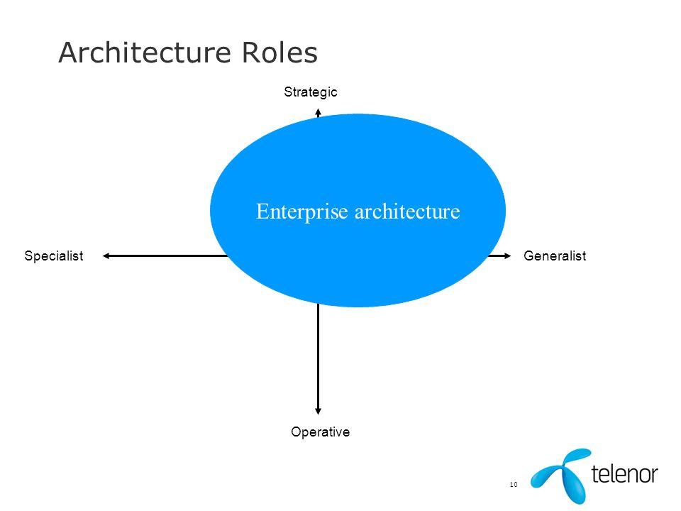 10 Architecture Roles Strategic Operative GeneralistSpecialist Enterprise architecture