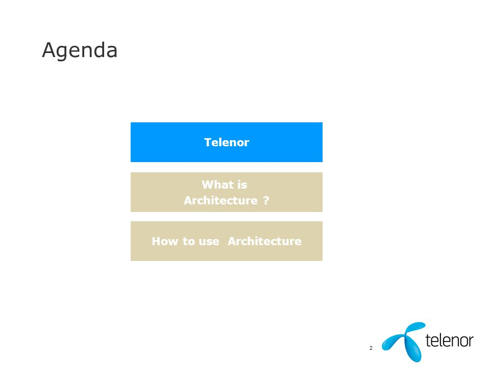 2 Agenda Telenor What is Architecture ? How to use Architecture
