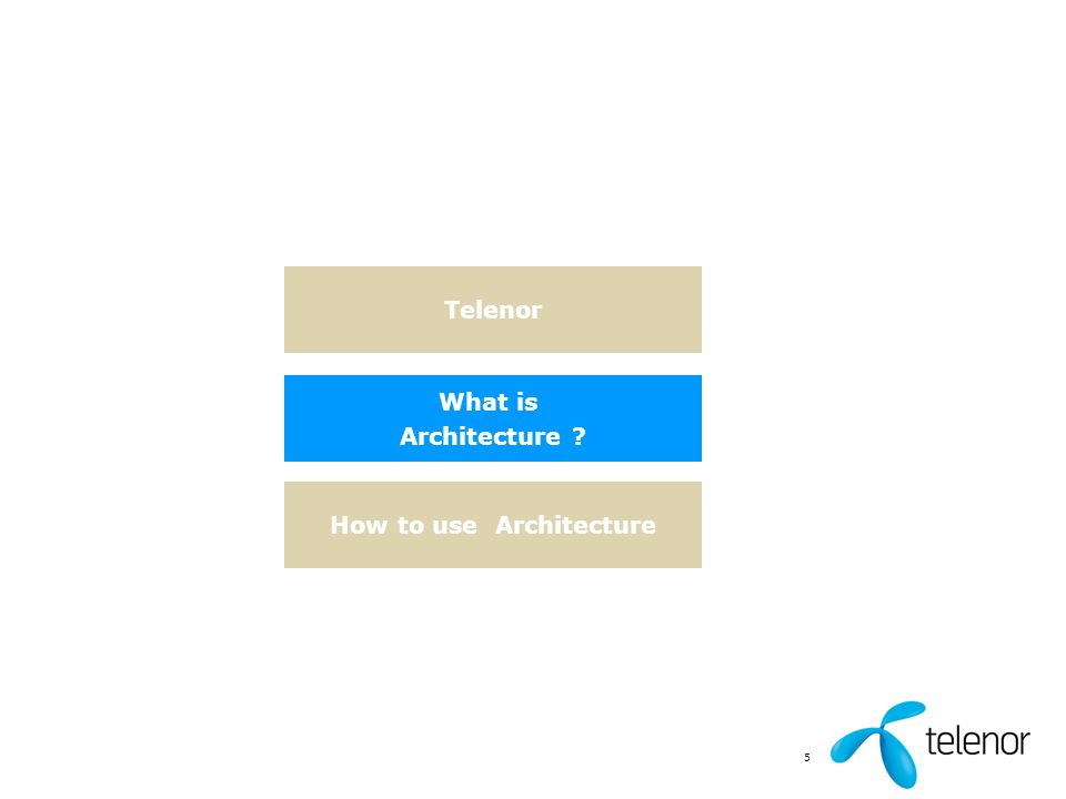 5 Telenor What is Architecture ? How to use Architecture
