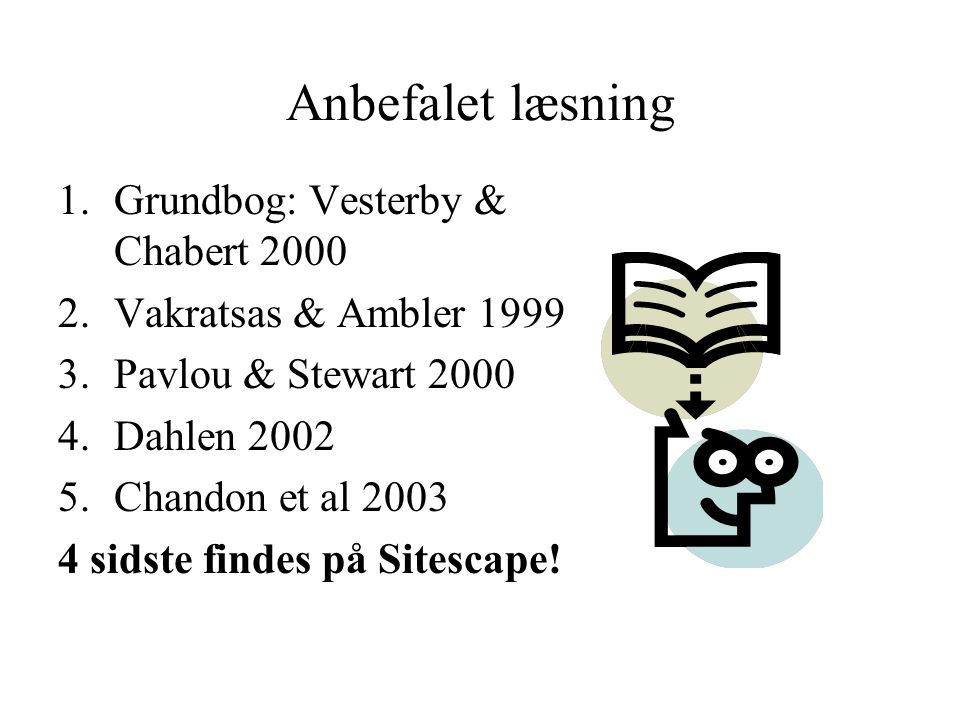 Anbefalet læsning 1.Grundbog: Vesterby & Chabert 2000 2.Vakratsas & Ambler 1999 3.Pavlou & Stewart 2000 4.Dahlen 2002 5.Chandon et al 2003 4 sidste findes på Sitescape!