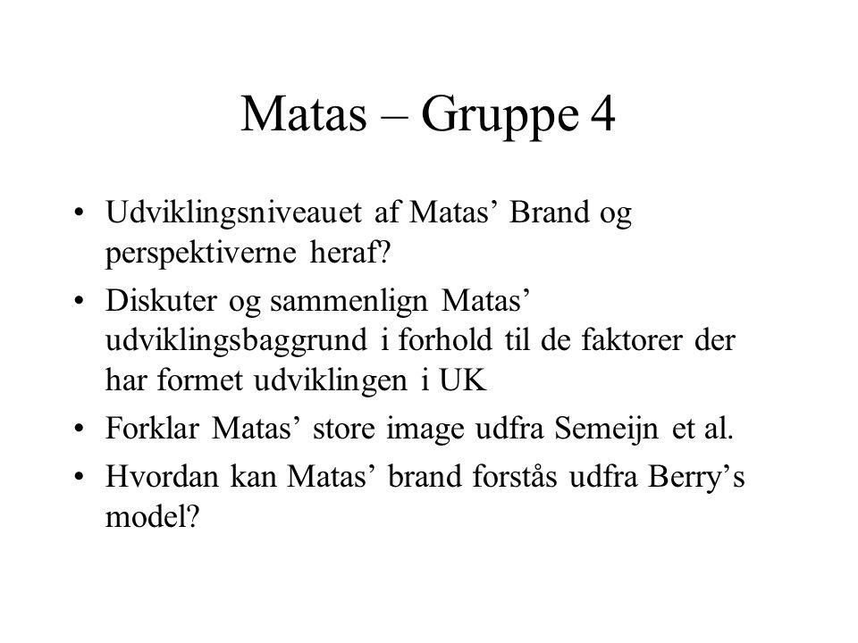 Matas – Gruppe 4 Udviklingsniveauet af Matas' Brand og perspektiverne heraf.