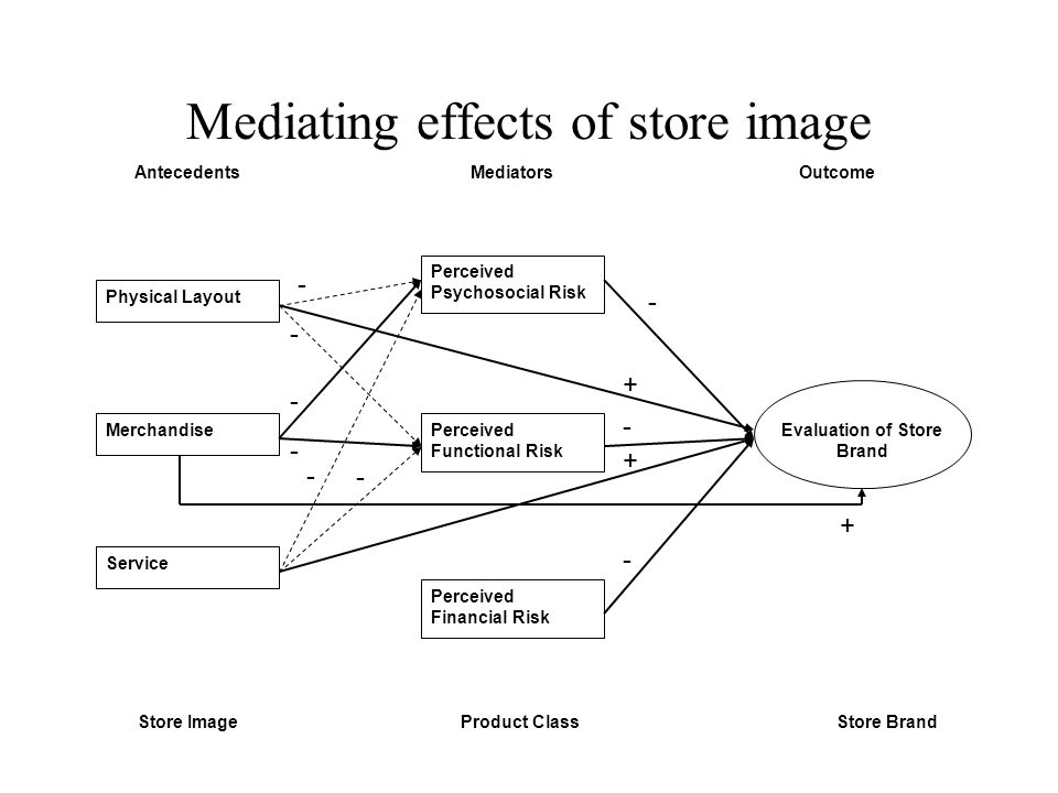 Mediating effects of store image Physical Layout Service Merchandise Perceived Psychosocial Risk Perceived Functional Risk Perceived Financial Risk Evaluation of Store Brand AntecedentsMediatorsOutcome Store ImageProduct ClassStore Brand + + + - - - - - - - - -