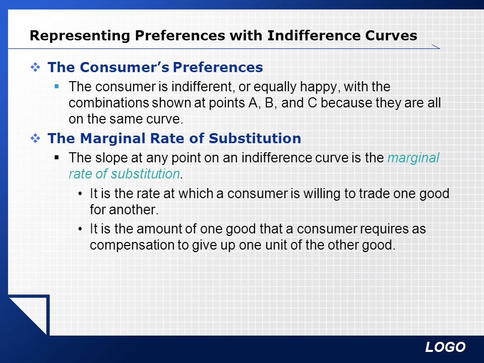 LOGO Representing Preferences with Indifference Curves  The Consumer's Preferences  The consumer is indifferent, or equally happy, with the combinations shown at points A, B, and C because they are all on the same curve.