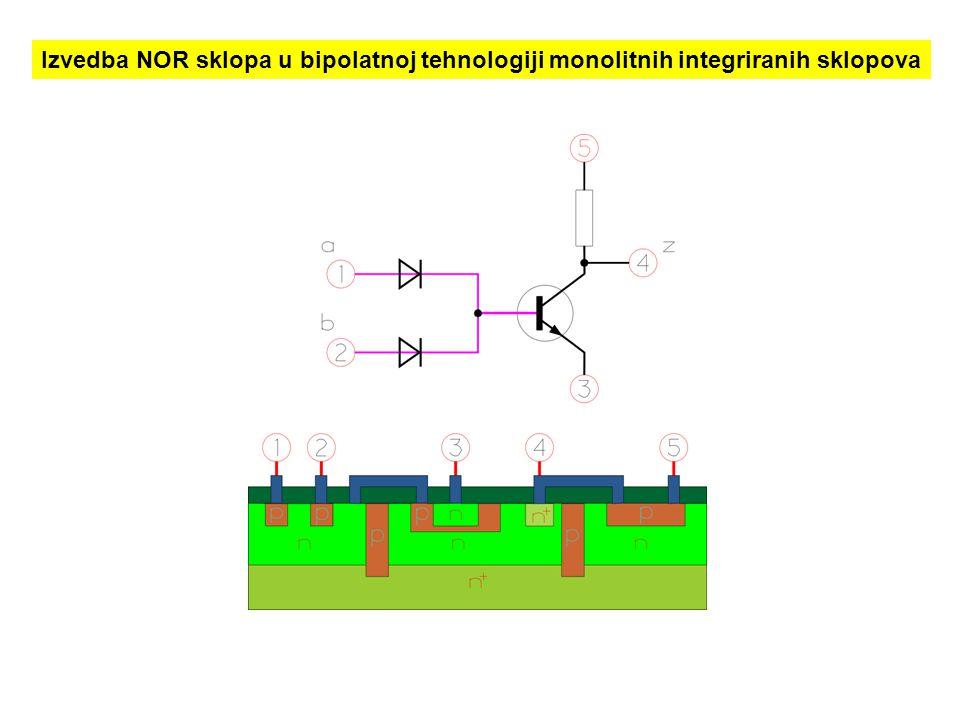 Izvedba NOR sklopa u bipolatnoj tehnologiji monolitnih integriranih sklopova