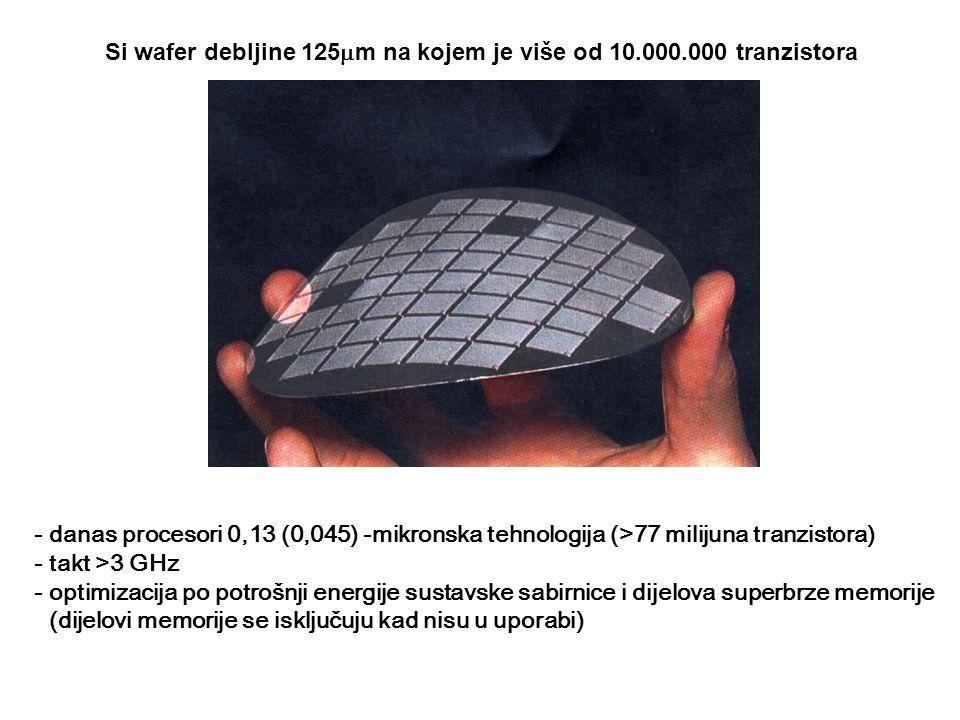Si wafer debljine 125  m na kojem je više od 10.000.000 tranzistora - danas procesori 0,13 (0,045) -mikronska tehnologija (>77 milijuna tranzistora) - takt >3 GHz - optimizacija po potrošnji energije sustavske sabirnice i dijelova superbrze memorije (dijelovi memorije se isključuju kad nisu u uporabi)