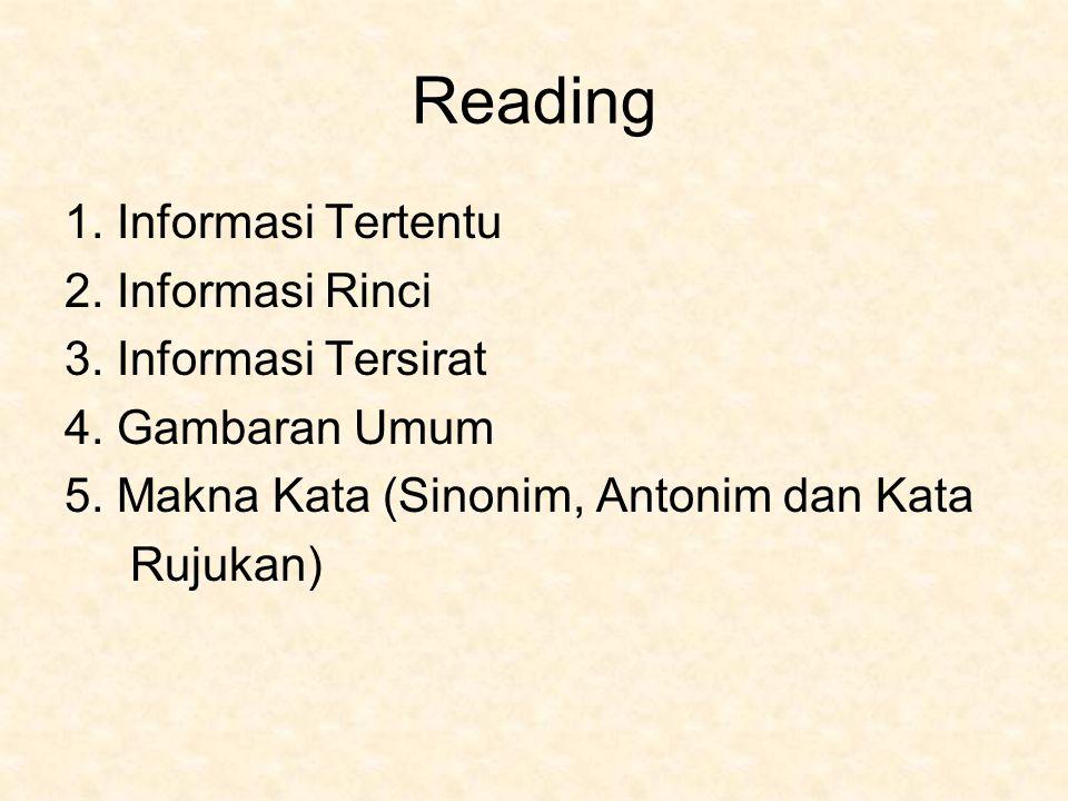 Reading 1. Informasi Tertentu 2. Informasi Rinci 3. Informasi Tersirat 4. Gambaran Umum 5. Makna Kata (Sinonim, Antonim dan Kata Rujukan)