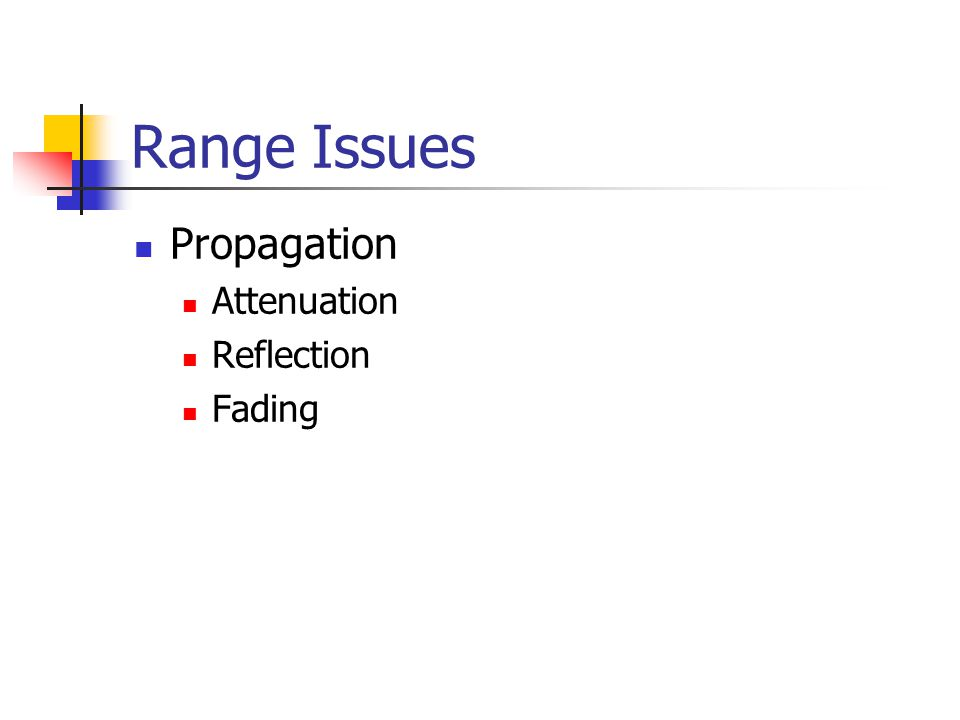 Range Issues Propagation Attenuation Reflection Fading