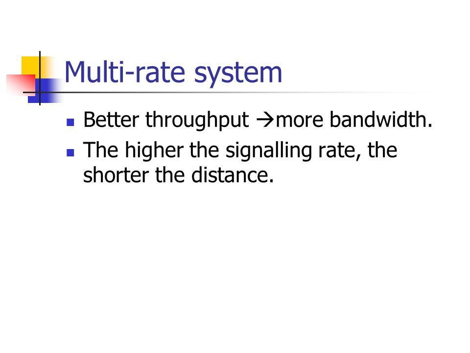 Multi-rate system Better throughput  more bandwidth.