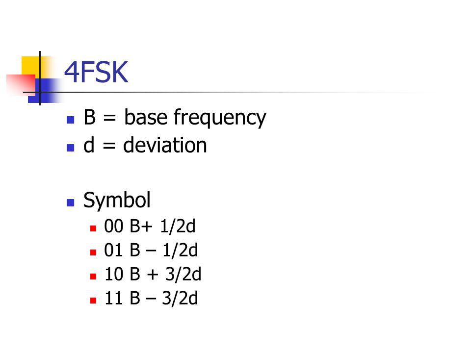 4FSK B = base frequency d = deviation Symbol 00 B+ 1/2d 01 B – 1/2d 10 B + 3/2d 11 B – 3/2d