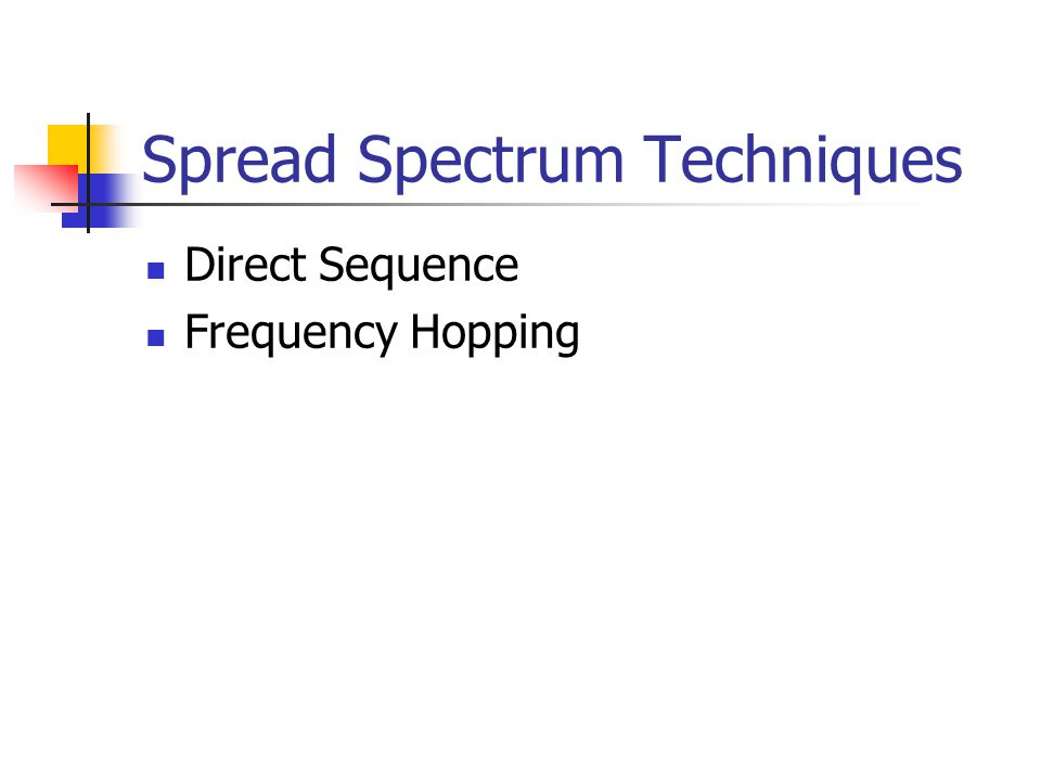 Spread Spectrum Techniques Direct Sequence Frequency Hopping