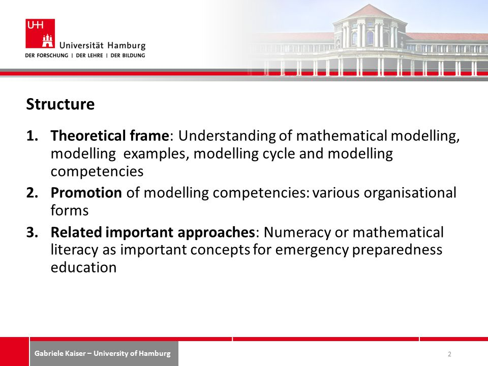 Gabriele Kaiser – University of Hamburg Structure 1.Theoretical frame: Understanding of mathematical modelling, modelling examples, modelling cycle and modelling competencies 2.Promotion of modelling competencies: various organisational forms 3.Related important approaches: Numeracy or mathematical literacy as important concepts for emergency preparedness education 2