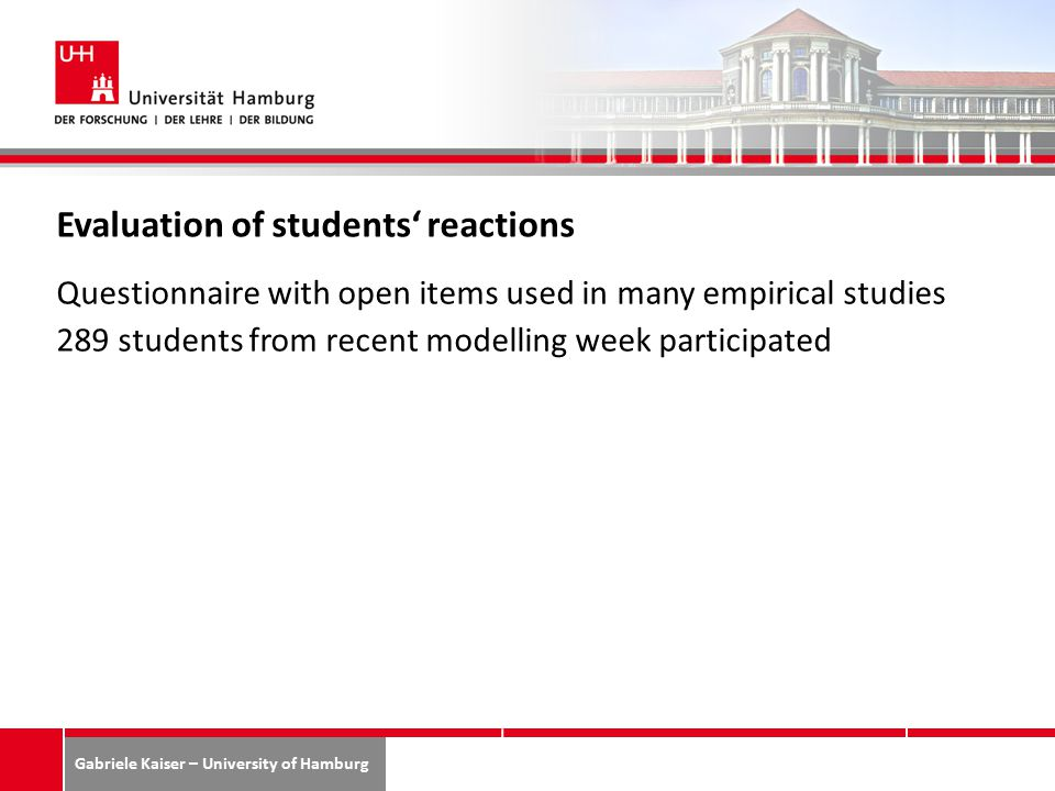 Gabriele Kaiser – University of Hamburg Evaluation of students' reactions Questionnaire with open items used in many empirical studies 289 students from recent modelling week participated